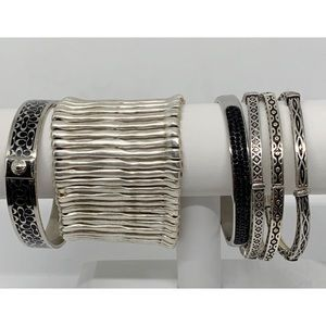 Bundle of 6 Silver & Black Bangle Bracelet Lot